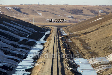 New Railroad Construction With Cement Rail Ties Stock Photo