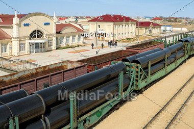 New Station In Zhanaozen Kazakhstan. Through This Station Planned To Deliver Loads From Kazakhstan To Iran Via Turkmenistanand And Vice Versa Stock Photo