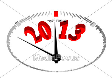 New Year 2013 Concept Clock Closeup On Whte Background Stock Photo