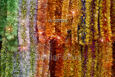 new year colorful tinsel background Stock Photo