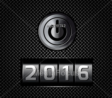 New Year Counter 2016 With Power Button. Vector Illustration Stock Photo