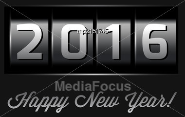 New Year Counter 2016. VectoriIllustration On Black Stock Photo