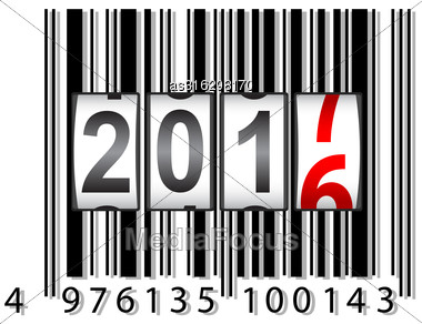 New Year Counter 2017, Barcode Vector Illustration Stock Photo