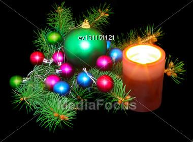 New Year Decoration- Balls, Tinsel, Candel .On Black Background Stock Photo