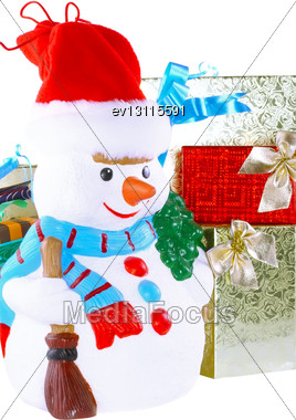 New Year Decoration- Snowman And New Year Year Gift Box. Close-Up. Isolated Over White Stock Photo