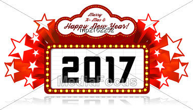 New Year Marquee 2017. Vector Illustration On White Stock Photo
