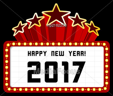 New Year Marquee 2017. Vector Illustration On Black Stock Photo