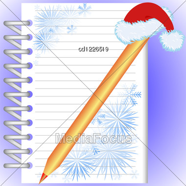 New Year's Notebook With Snowflakes And A Gold Pencil In A Red Cap Stock Photo