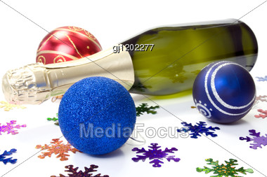 New Years Eve Composition With Baubles And Champagne Stock Photo