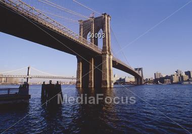New York City, Brooklyn Bridge Stock Photo