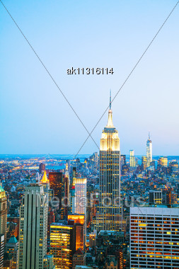 New York City Cityscape Birds Eye View In The Night Stock Photo