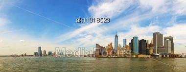 New York City Cityscape Panorama On A Sunny Day Stock Photo