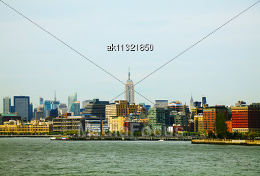 New York City Panorama On A Cloudy Day Stock Photo