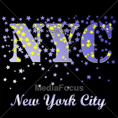 New York T-shirt Emblem.Print Typography. Retro Label. Vintage Sport Pattern. Starry Basketball Logo On Black Background Stock Photo
