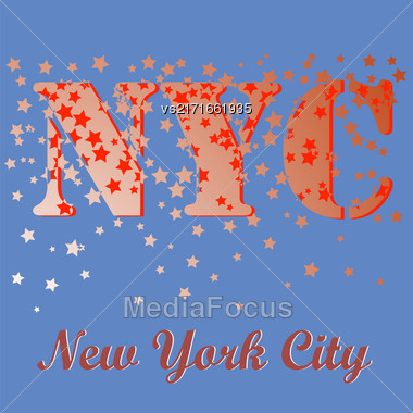 New York T-shirt Emblem.Print Typography. Retro Label. Vintage Sport Pattern. Starry Basketball Logo On Blue Background Stock Photo