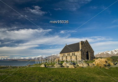 New Zealand, South Island, Lake Tekapo, Small Church Stock Photo