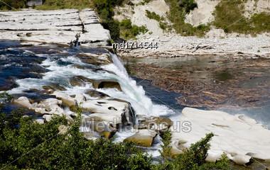 New Zealand Waterfall Near Christchurch Scenic View Stock Photo