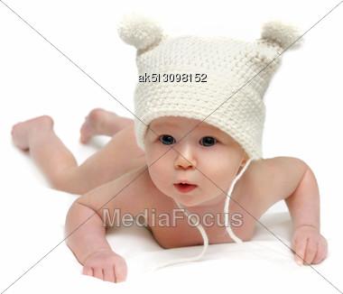 Newborn Baby In The Cap Isolated Stock Photo