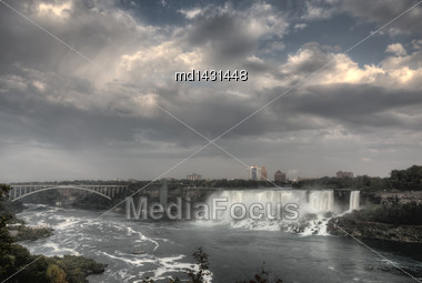 Niagara Falls Daytime Ontario New York Canada USA Stock Photo