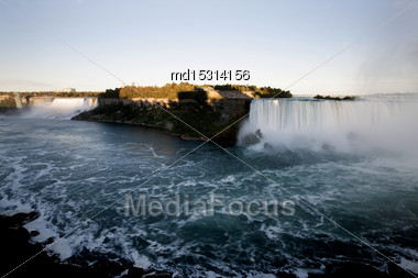 Niagara Falls In Ontario Canada Cascading Water Stock Photo