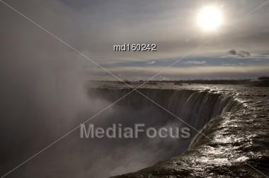 Niagara Falls Ontario Sun Shining Close Up Stock Photo