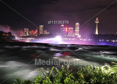 Niagara River In The Night Time Stock Photo