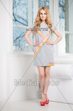 Nice Blond Woman Posing In Short Gray Dress Near The Window Stock Photo