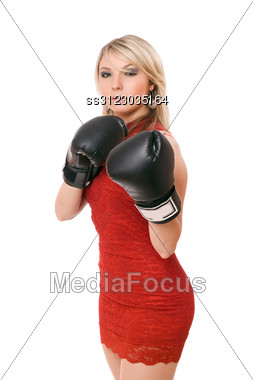 Nice Blond Young Woman In Boxing Gloves Stock Photo