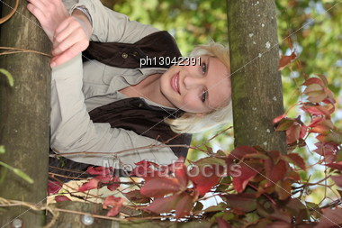 Nice Blondie In A Park. Stock Photo