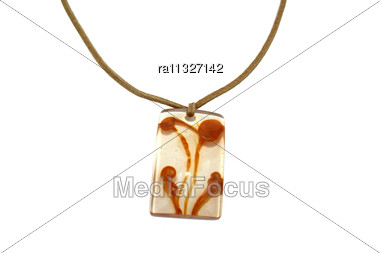 Nice Brown Necklace Isolated On The White. Stock Photo