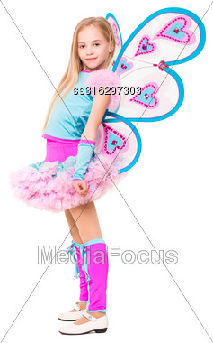 Nice Little Blond Girl Wearing Butterfly Costume. Isolated On White Stock Photo