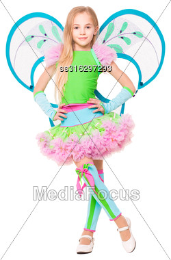 Nice Little Blonde Wearing Luxury Butterfly Costume. Isolated On White Stock Photo