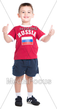 Nice Little Boy Posing In Russian Football Uniform. Isolated On White Stock Photo