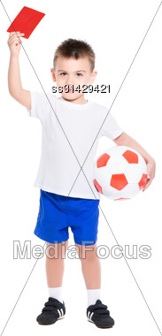 Nice Little Boy Shows A Red Card. Isolated On White Stock Photo