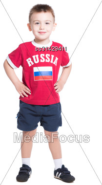 Nice Little Boy Wearing Russian Football Uniform. Isolated On White Stock Photo