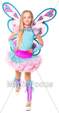 Nice Little Girl Wearing Like A Butterfly. Isolated On White Stock Photo