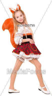 Nice Little Girl Wearing Like A Squirrel. Isolated On White Stock Photo