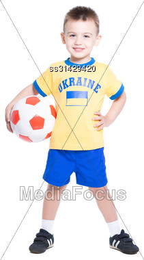Nice Little Ukrainian Football Player Posing With A Ball. Isolated On White Stock Photo