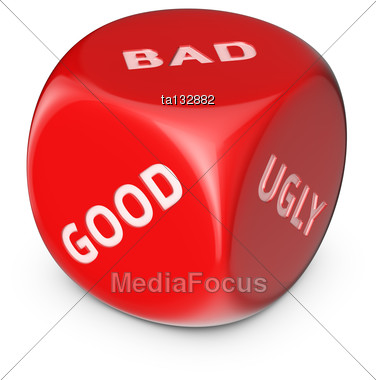 Nice Or Not? Big Red Dice With Options Stock Photo