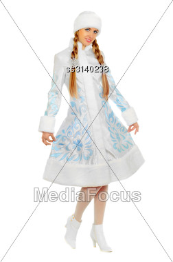 Nice Smiling Snow Maiden. Isolated On White Stock Photo