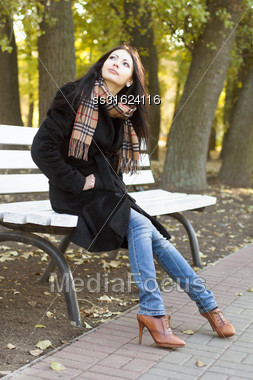 Nice Young Woman Sitting On A Bench In Autumn Park Stock Photo