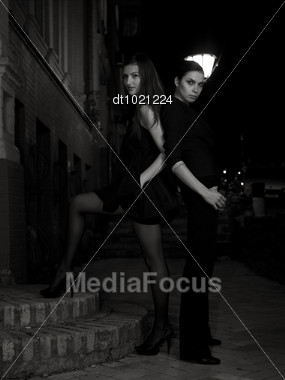 Night At The City. Female Glamour Portrait Stock Photo