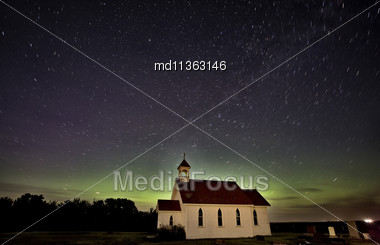 Night Church Northern Lights Saskatchewan Canada Aurora Borealis Stock Photo