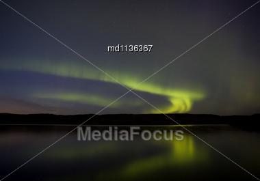 Night Church Northern Lights Saskatchewan Canada Aurora Borealis Stock Photo