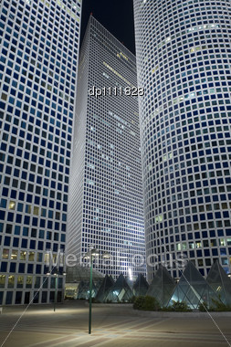 Night City, Azrieli Tower, Tel-Aviv, Israel Stock Photo