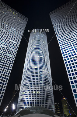 Night City, Business Centre, Modern Office Building Stock Photo