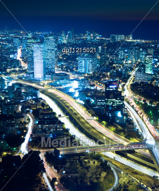 Night City, Tel Aviv At Night, Crossroad Traffic Stock Photo