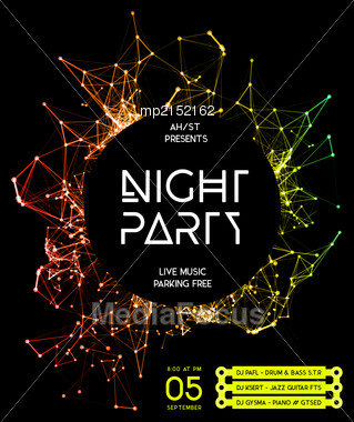 Night Disco Party Poster Background Template - Vector Illustration Stock Photo