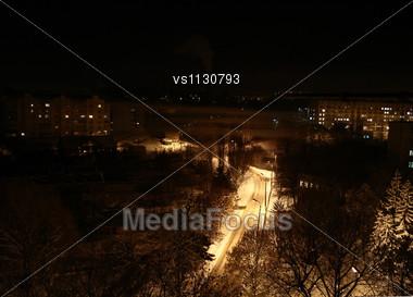 Night Foggy Street .Winter Landscape Stock Photo