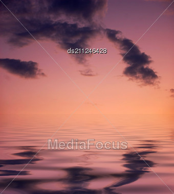 Night Is Falling - Violet And Pink Sky And Clouds Background Stock Photo